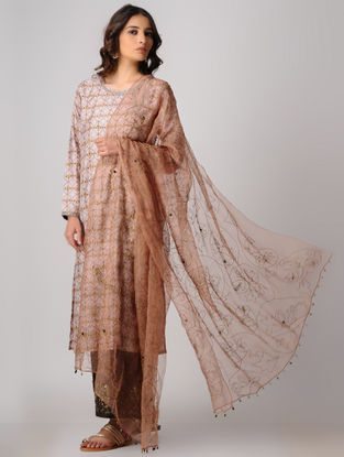 Brown Silk Dupatta with Embroidery