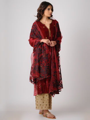 Red Silk Dupatta with Embroidery