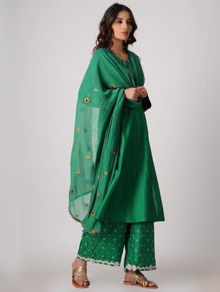Green Cotton Silk Dupatta with Embroidery