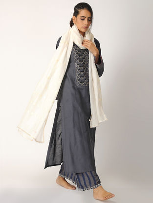 Grey Embroidered Cotton Silk Kurta