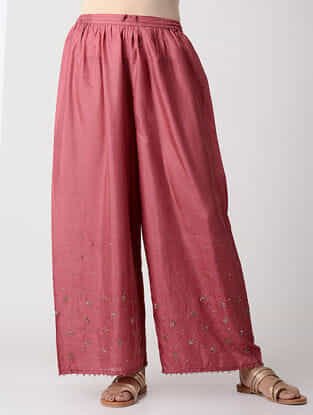 Pink Elasticated-Waist Embroidered Silk Pants
