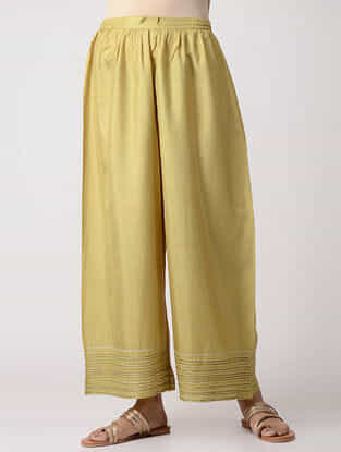 Green Elasticated-Waist Embroidered Silk Pants