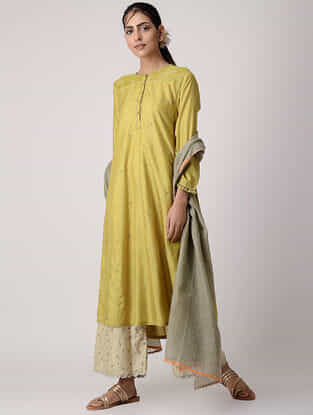 Green Embroidered Silk Kurta