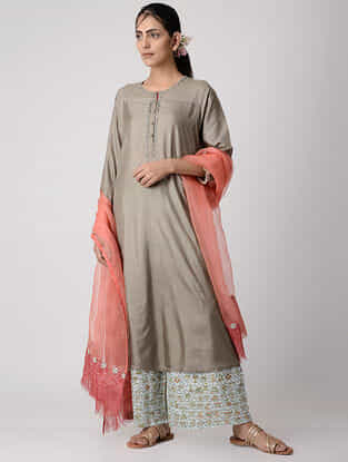 Grey Embroidered Panelled Silk Kurta