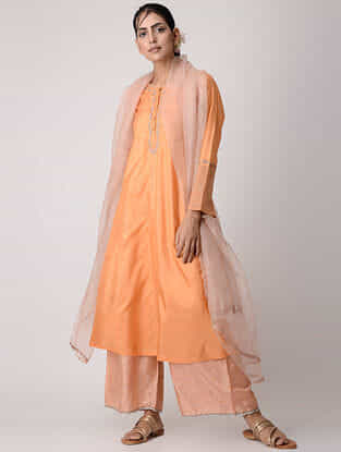 Orange Embroidered Silk Kurta