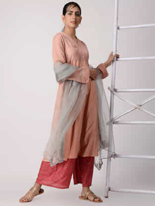 Peach Embroidered Pintuck Silk Kurta