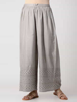 Grey Elasticated-Waist Embroidered Silk Pants