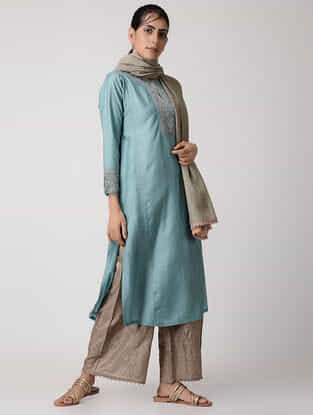 Blue Embroidered Panelled Silk Kurta