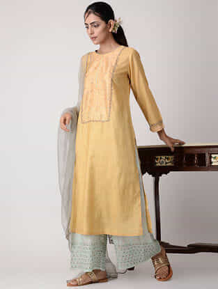 Yellow Embroidered Silk Kurta