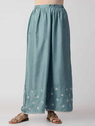 Blue Elasticated-Waist Embroidered Silk Pants