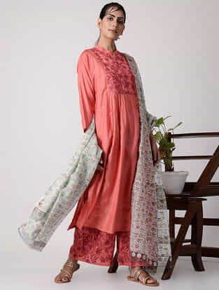 Pink Embroidered Silk Kurta