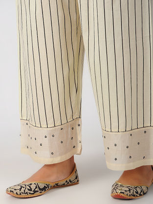 Ivory Elasticated Waist Hand-embroidered Cotton Pants
