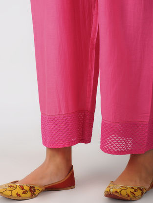 Pink Elasticated Waist Embroidered Cotton Silk Pants