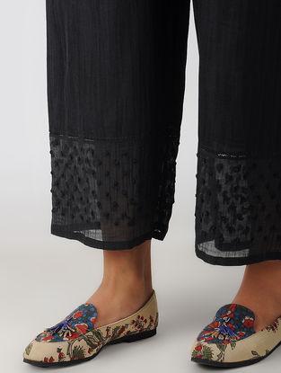 Black Elasticated Waist Hand-embroidered Cotton Silk Pants