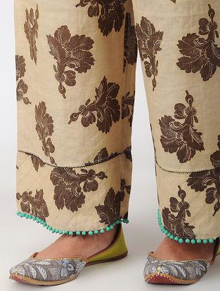 Beige-Black Elasticated Waist Printed Tissue Pants