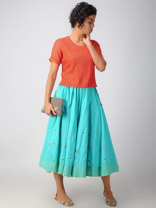 Orange Pintuck Cotton Silk Top