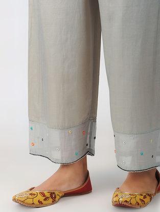 Grey Elasticated Waist Hand-embroidered Cotton Silk Pants