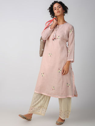 Pink Embroidered Tissue Kurta with Slip (Set of 2)