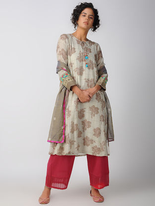 Ivory-Brown Cotton Silk Zari Kurta with Slip (Set of 2)