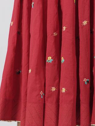 Red Tie-up Waist Hand-embroidered Cotton Skirt