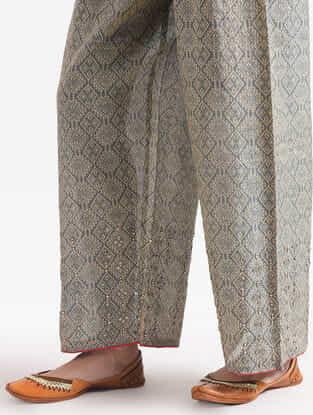 Grey Printed Printed Tissue Pants with Zari Work