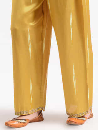 Yellow Cotton Silk Pants With Bead Work