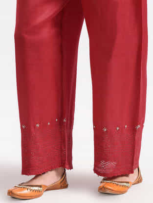 Red Cotton Silk Pants With Lace Detail