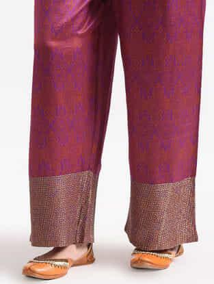 Purple Elasticated Waist Cotton Silk Pants with Zari Work