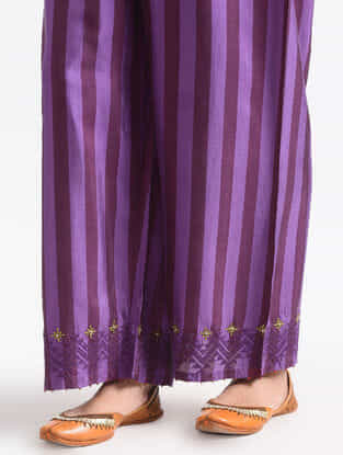 Purple Elasticated Waist Silk Pants with Zari Work