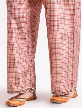 Red Elasticated Waist Silk Pants with Bead Work