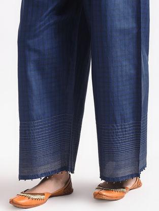 Blue Elasticated Waist Silk Pants with Zari Work