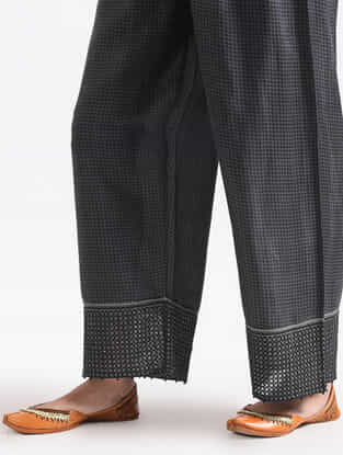 Grey Cotton Silk Pants with Lace Detail