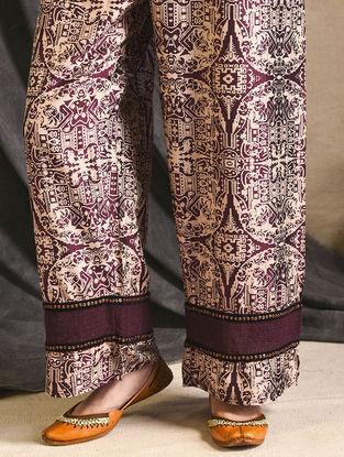 Burgundy Printed Silk Pants