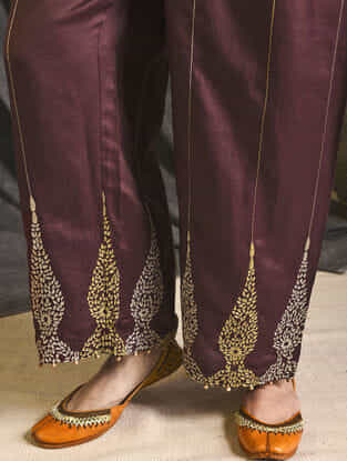 Wine Embroidered Silk-Cotton Pants