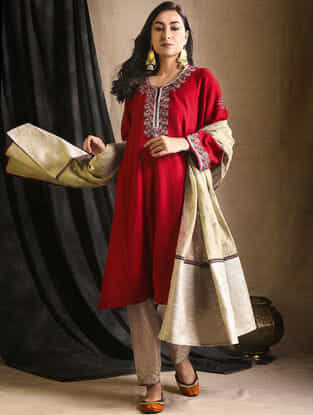 Red Embroidered Wool Kurta with Slip (Set of 2)