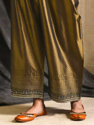 Olive Embroidered Silk Pants