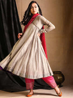 Grey Printed Silk-Cotton Angrakha Kurta with Slip (Set of 2)
