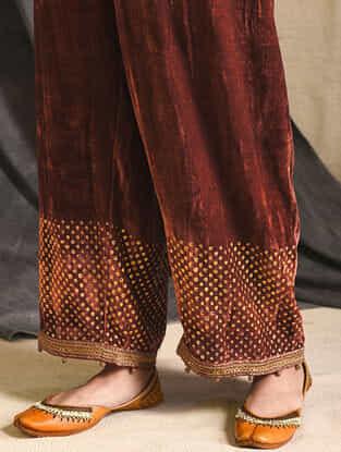 Brown Embroidered Silk-Velvet Pants