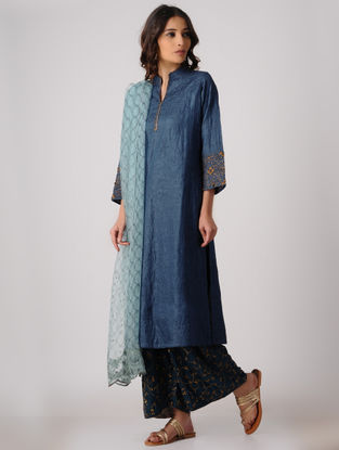 Indigo Silk Kurta with Embroidery