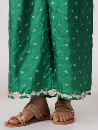 Green Elasticated Waist Silk Pants with Embroidery