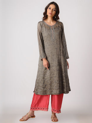 Taupe Tissue Kurta with Embroidery