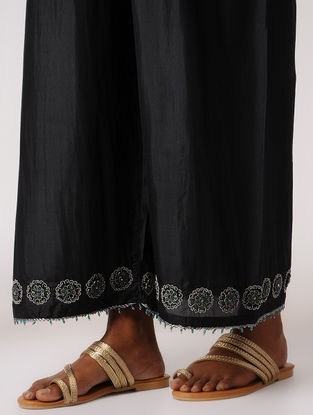 Black Elasticated Waist Silk Pants with Embroidery