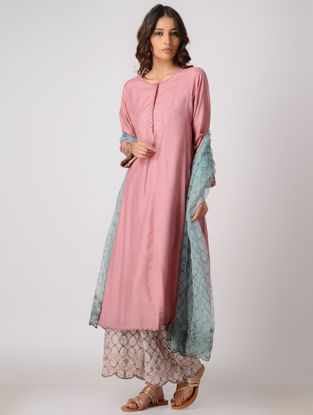 Pink Silk Kurta with Embroidery