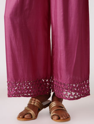 Fuschia Elasticated Waist Silk Pants with Embroidery