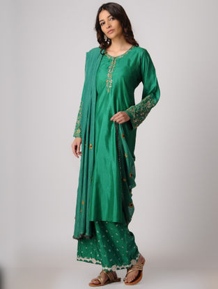 Green Silk Kurta with Embroidery