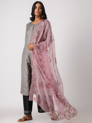 Grey Silk Kurta with Embroidery