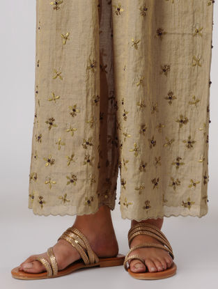 Beige Elasticated Waist Tissue Pants with Embroidery