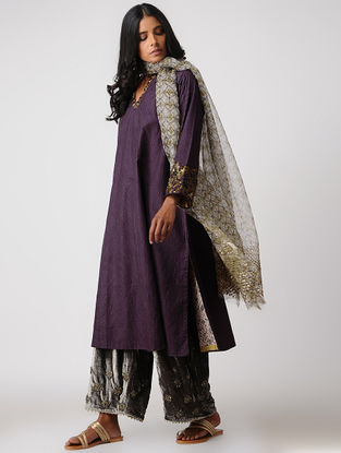 Purple Silk Kurta with Embroidery