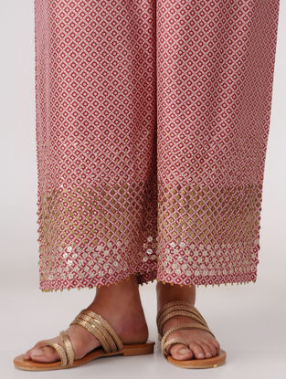Pink Elasticated Waist Silk Pants with Embroidery