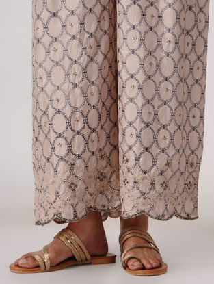 Pink-Grey Elasticated Waist Silk Pants with Embroidery